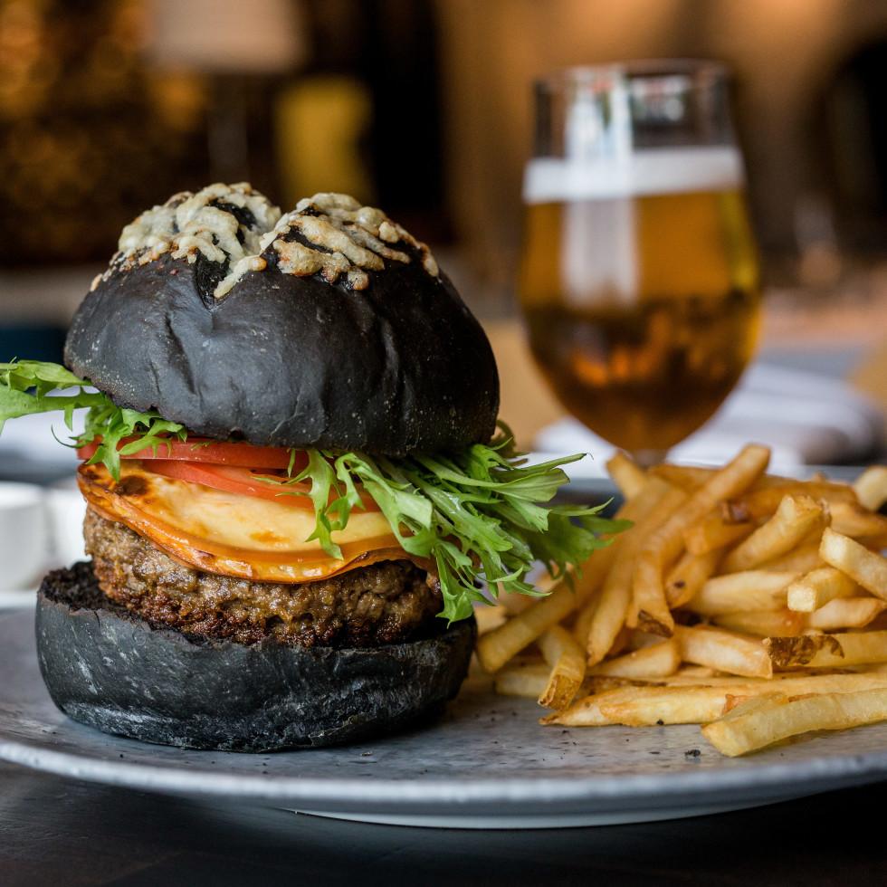 Doris Metropolitan black brioche bun burger
