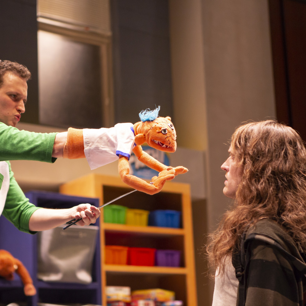 Parker Gray and Garret Storms in Hand To God at WaterTower Theatre