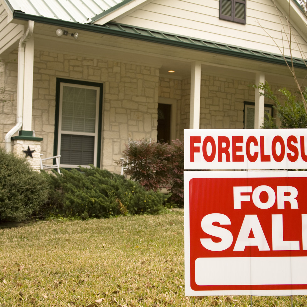 Foreclosure sign on house