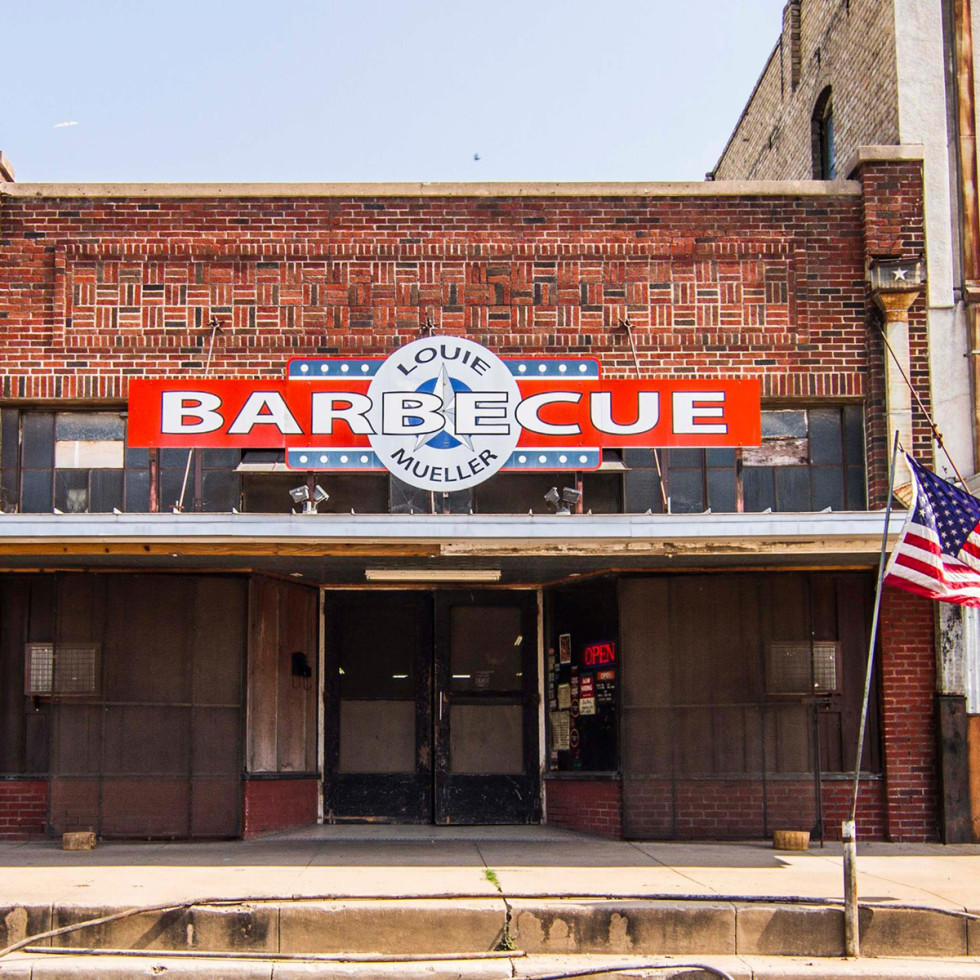 Louie Mueller Barbecue storefront in Taylor