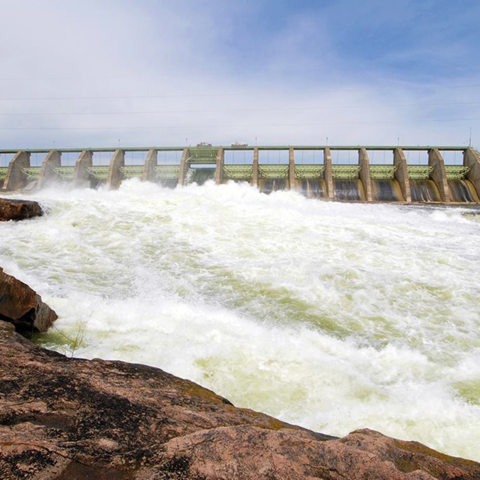 Mansfield dam highland lakes river flowing