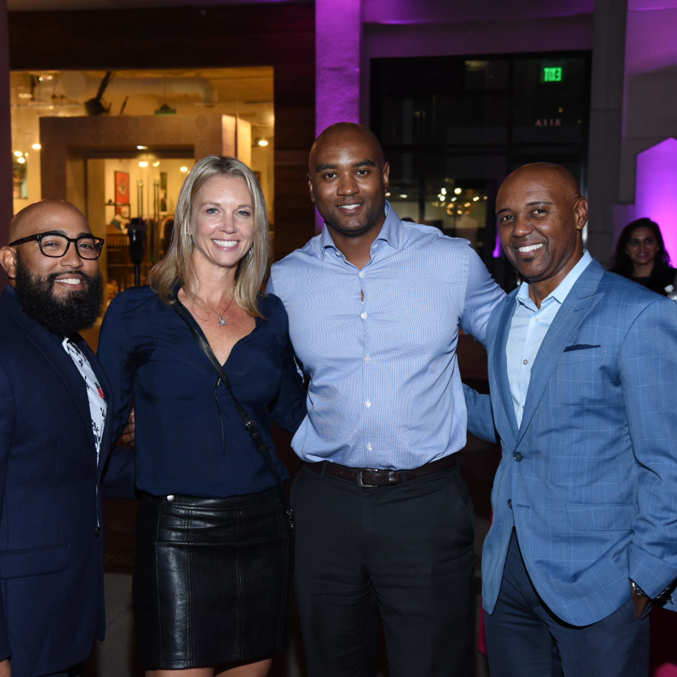 Pink Party 2018 West Ave Justin baptiste. Michelle stanley. Lloyd wills. Terrance baptiste.