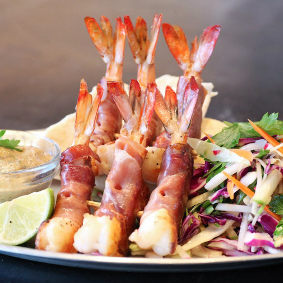 The Rustic, bacon-wrapped shrimp