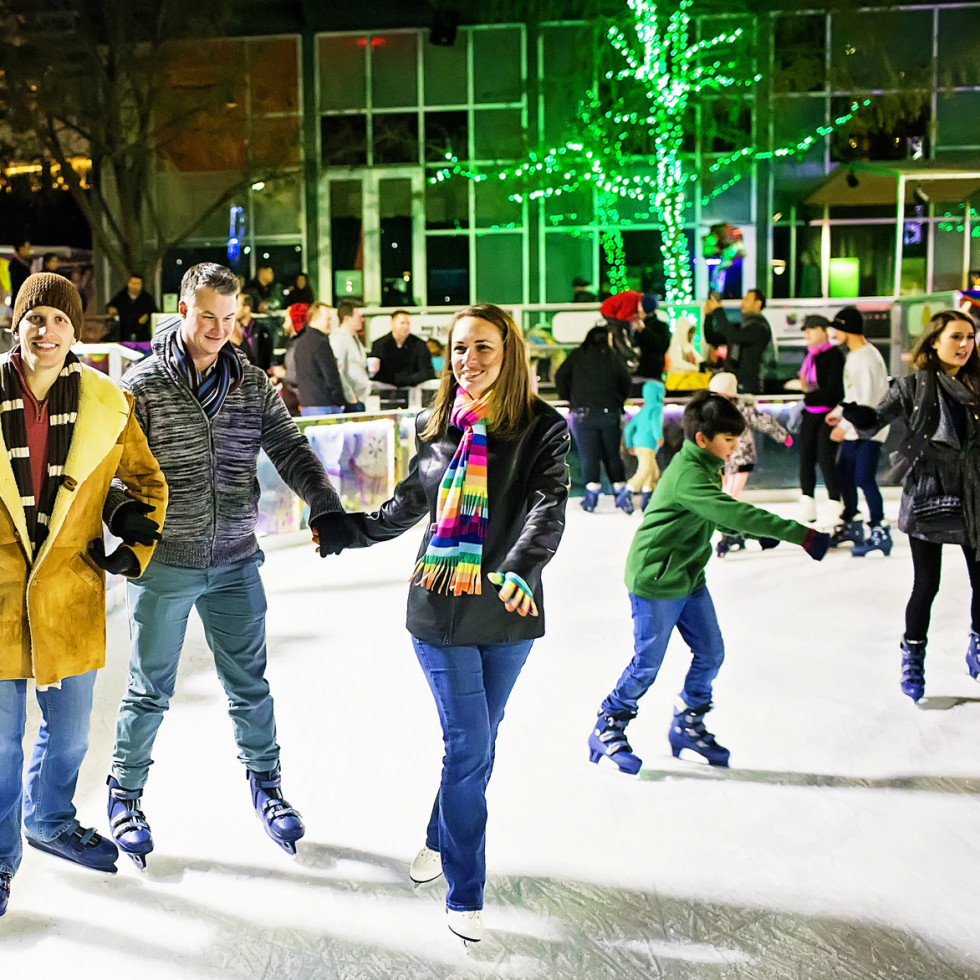 The ICE at Discovery Green ice skating downtown