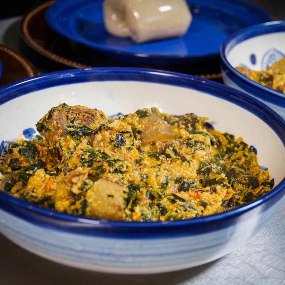 Houston Cookbook egusi soup and fufu