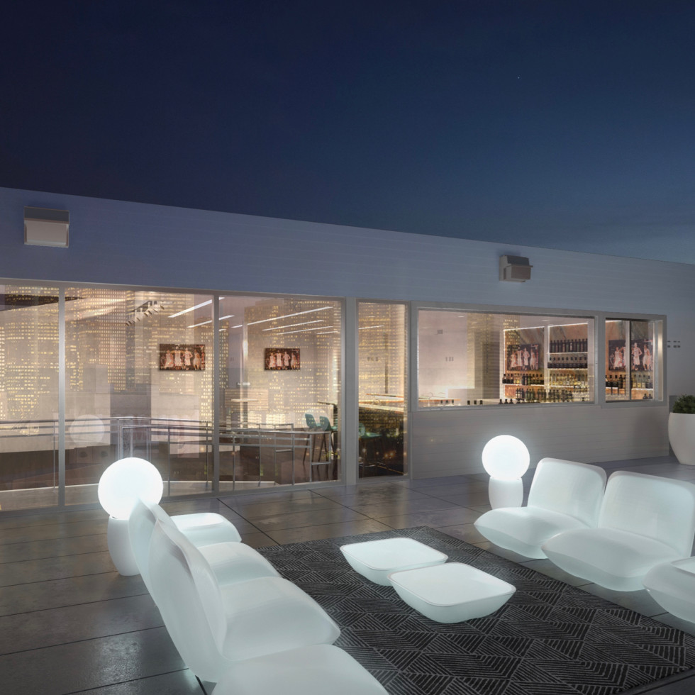 Sunset rooftop lounge exterior rendering