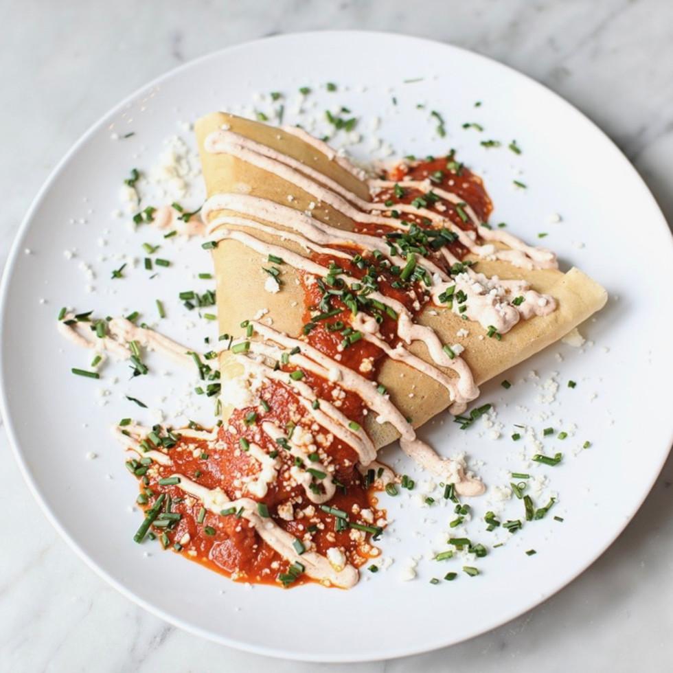 Sweet Paris Creperie chicken enchilada crepe