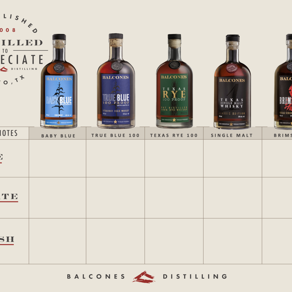 Balcones whiskey tasting card