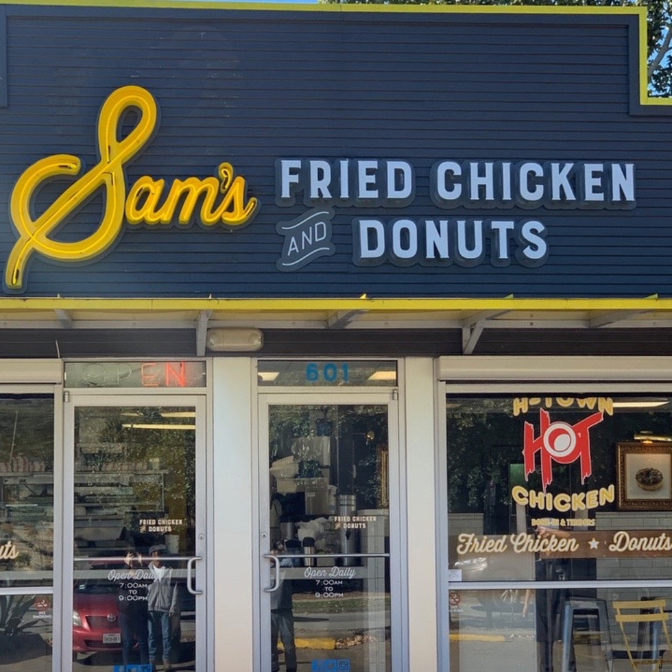 Sam's fried chicken & donuts exterior new sign
