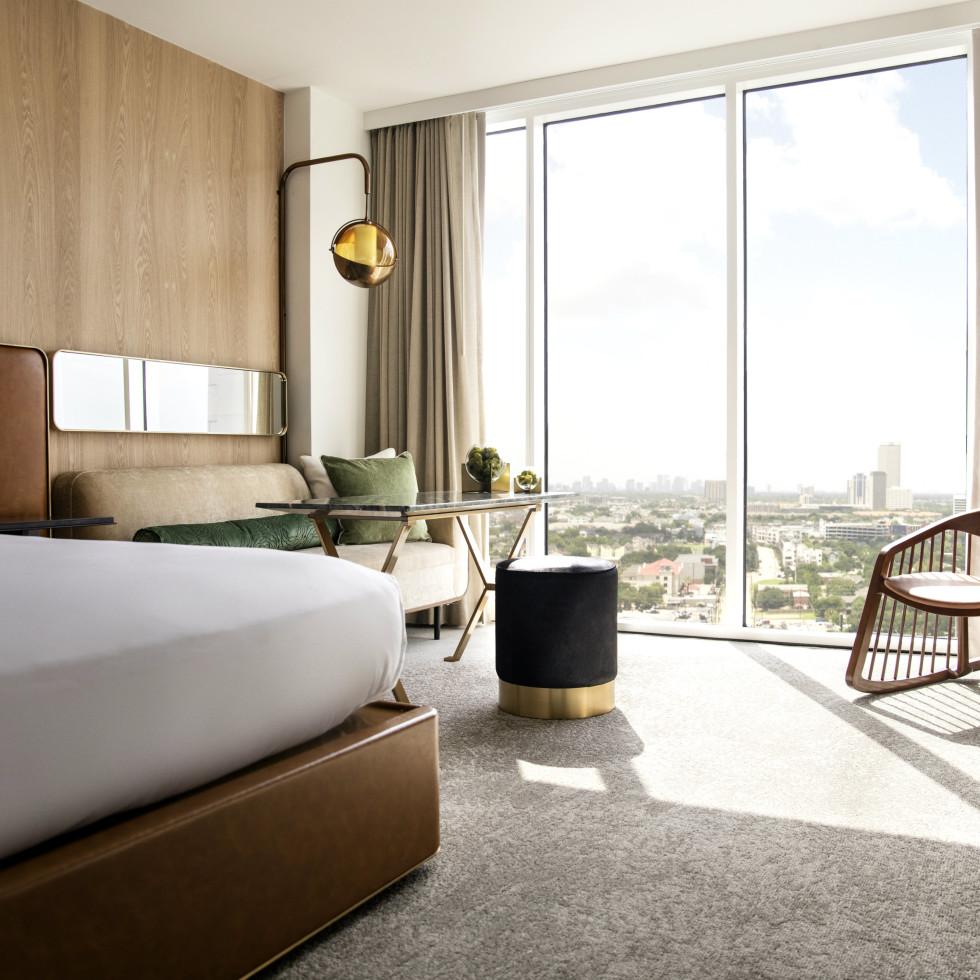 C. Baldwin Hotel Allen Center downtown Houston guestroom