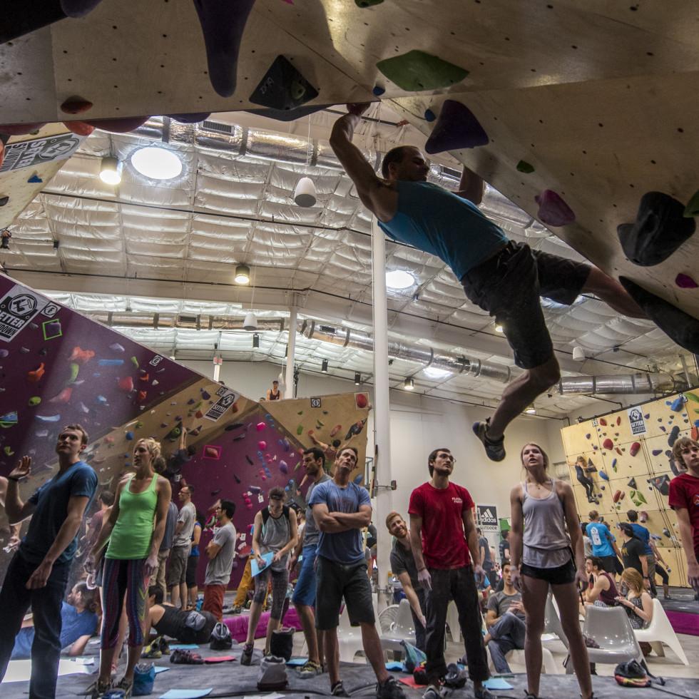 People rock climbing at Crux Climbing