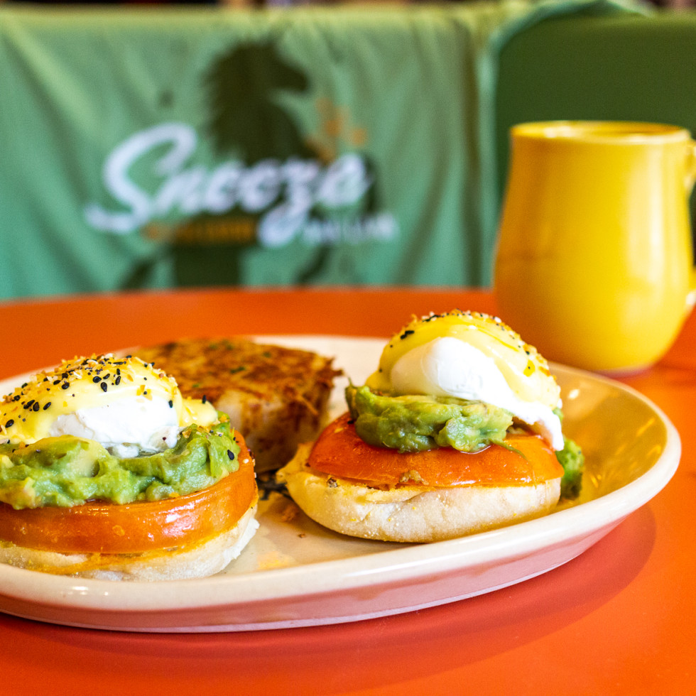 Snooze smashed avocado benedict