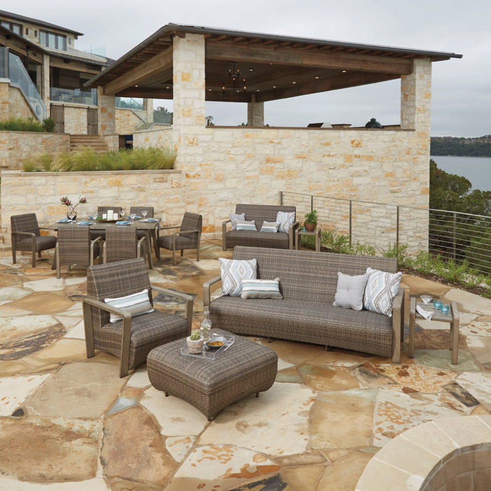 Patio furniture outside at sunset