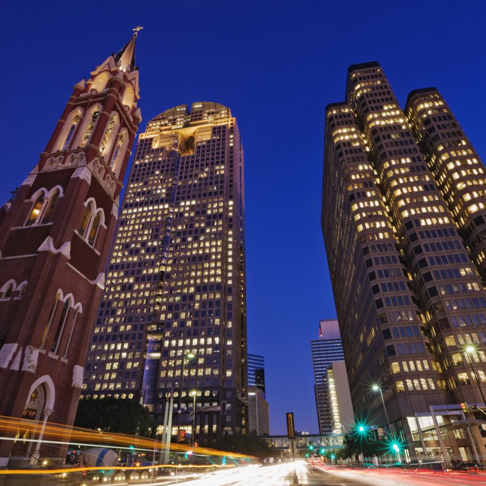 Dallas cityscape at night