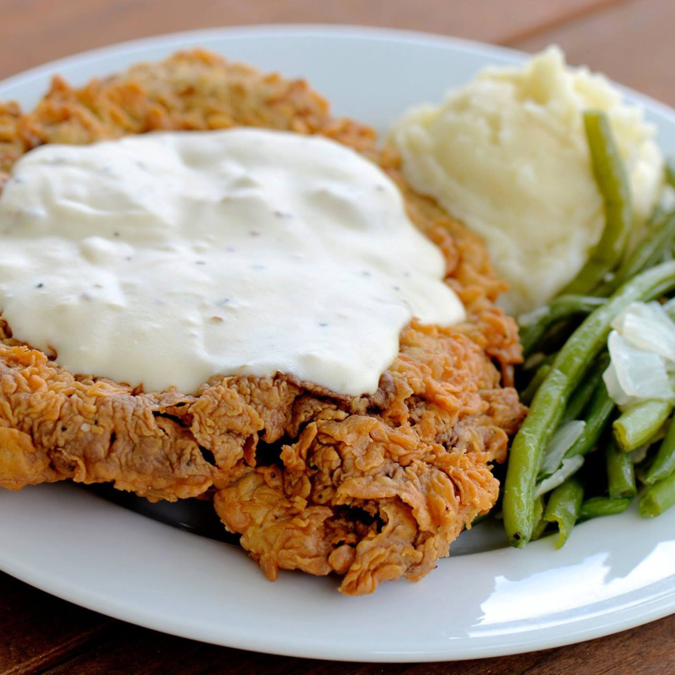 Killen's BBQ barbecue chicken fried steak with gravy green beans mashed potatoes