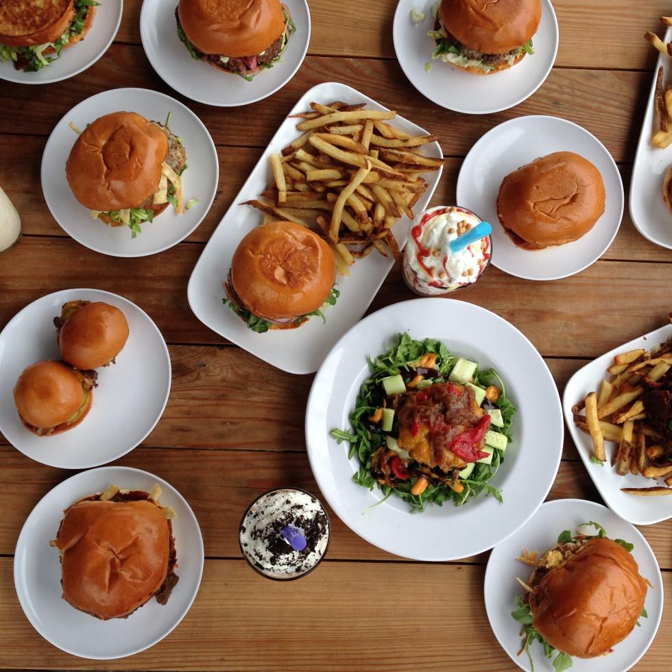 Bernie's Burger Bus table of burgers