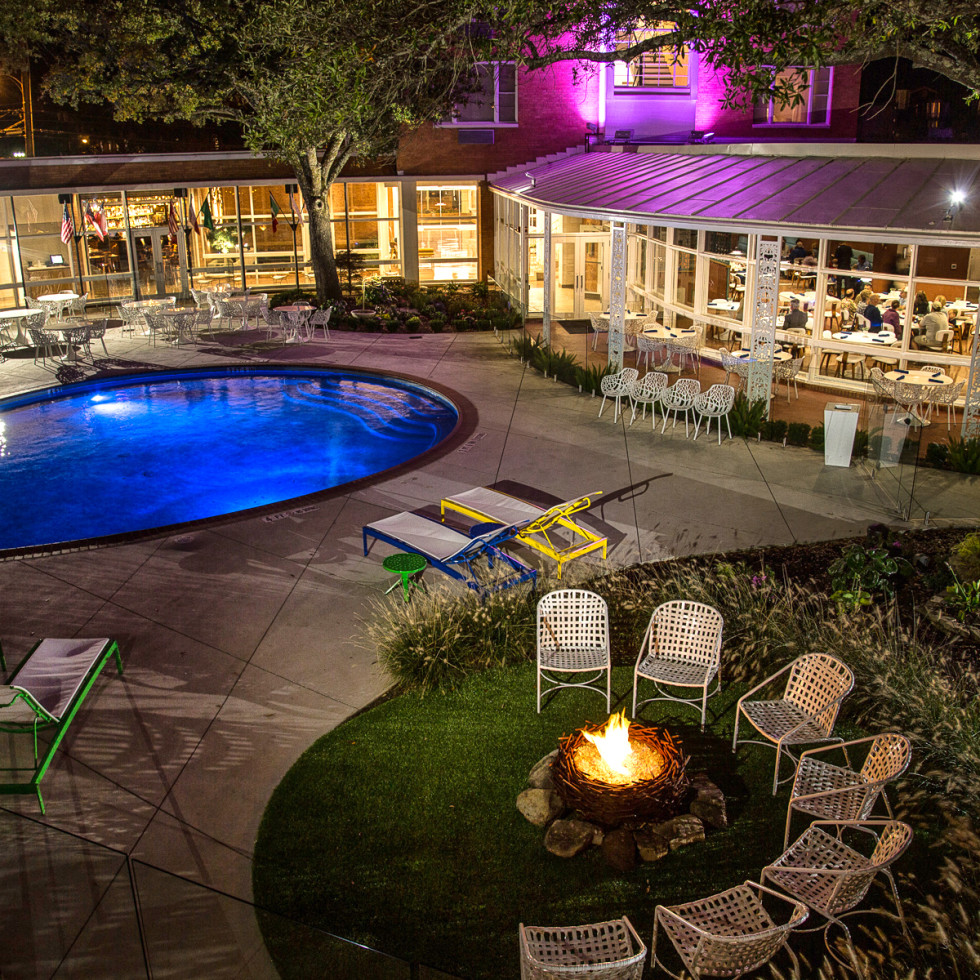 The Fredonia Hotel pool at night