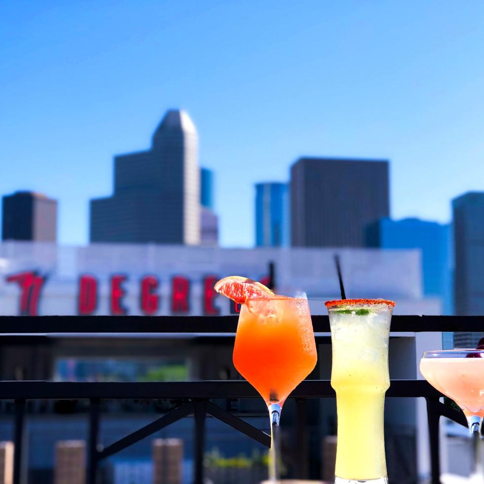 77 Degrees Houston patio drinks