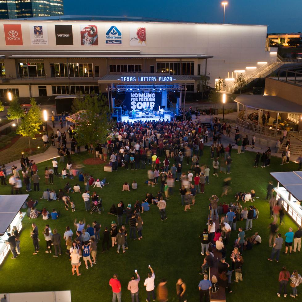 Band playing at Texas Lottery Plaza