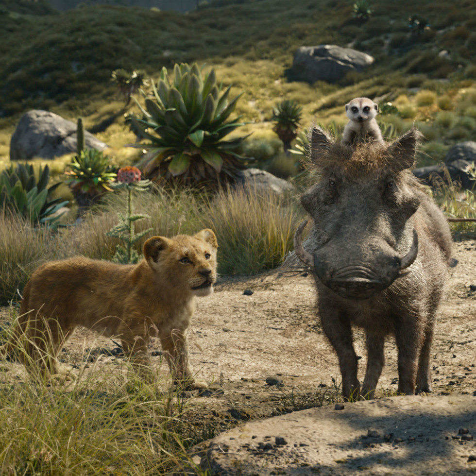Simba, Pumbaa, and Timon in The Lion King