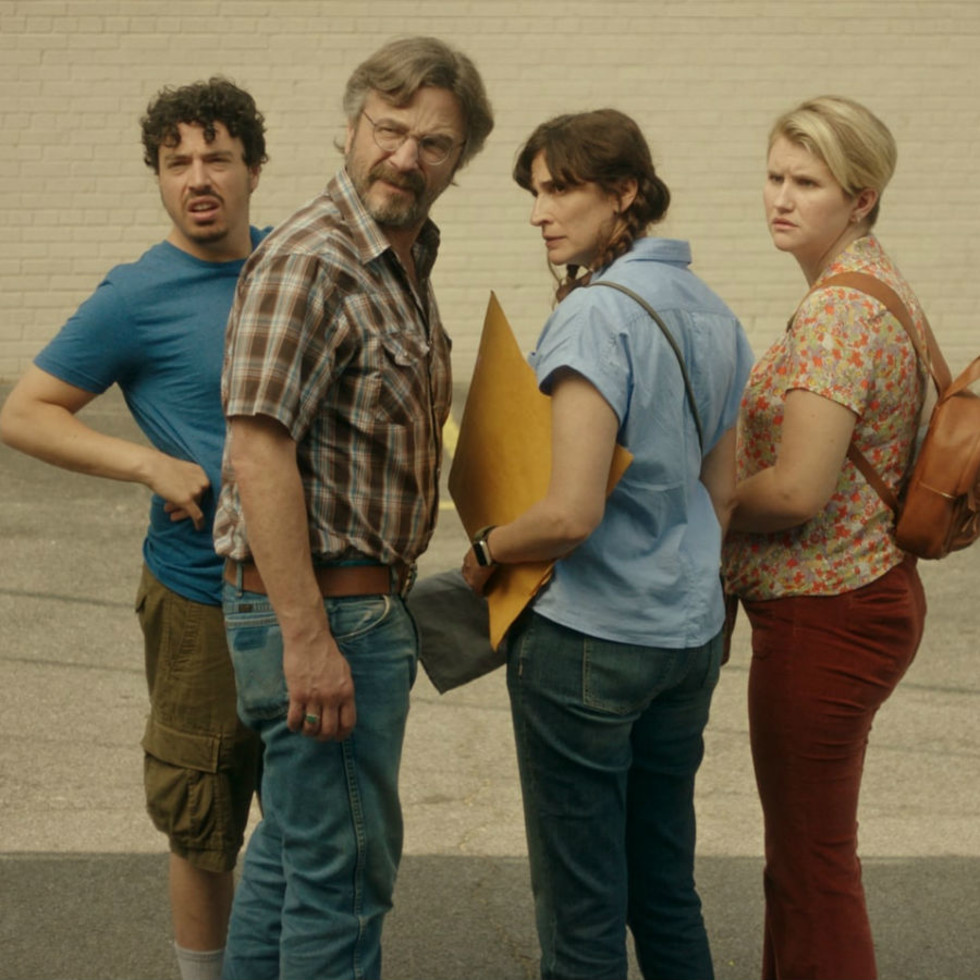 Jon Bass, Marc Maron, Michaela Watkins, and Jillian Bell in Sword of Trust