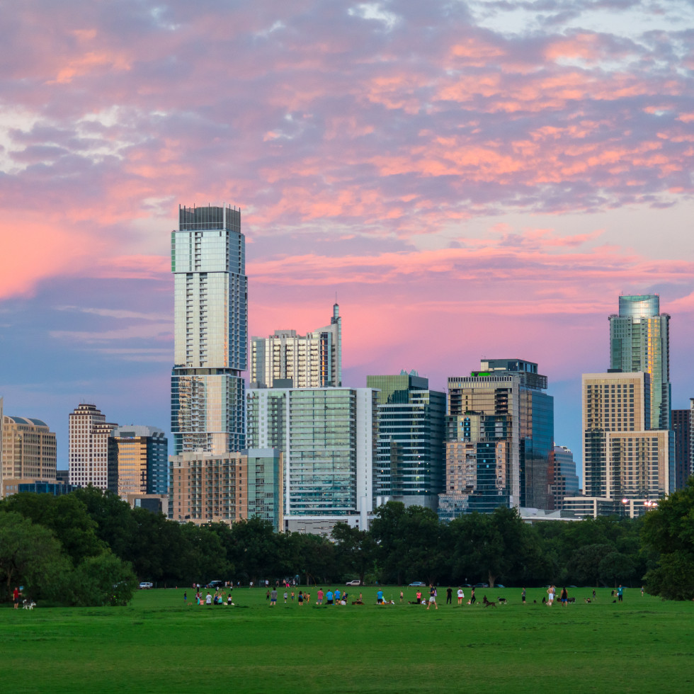 Zilker Park Austin skyline at sunset