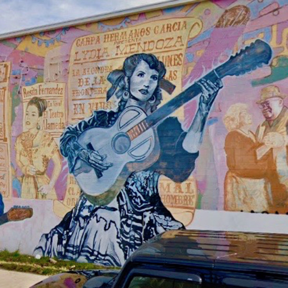 The 10-year-old La Música De San Anto mural at 1303 W. Commerce St. is being restored.