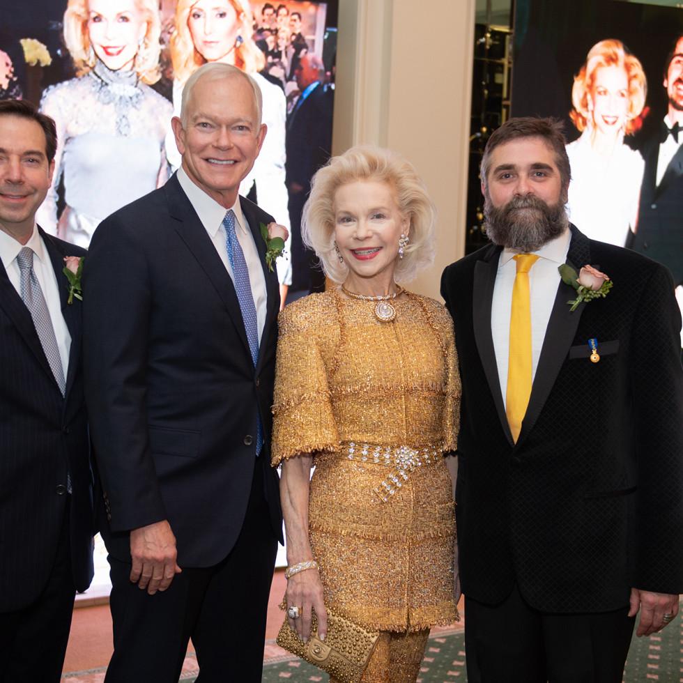 Houston Ballet Onstage Dinner Jim Nelson, Jesse (Jay) H. Jones II, Lynn Wyatt, Stanton Welch AM; Photo by Wilson Parish
