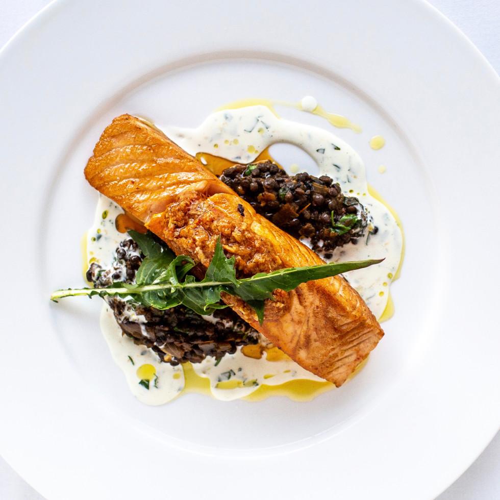 Annie Cafe Scottish Salmon with black lentil stew