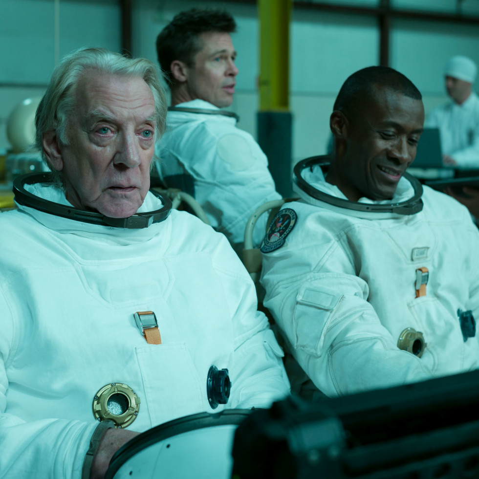 Donald Sutherland, Brad Pitt, and Sean Blakemore in Ad Astra
