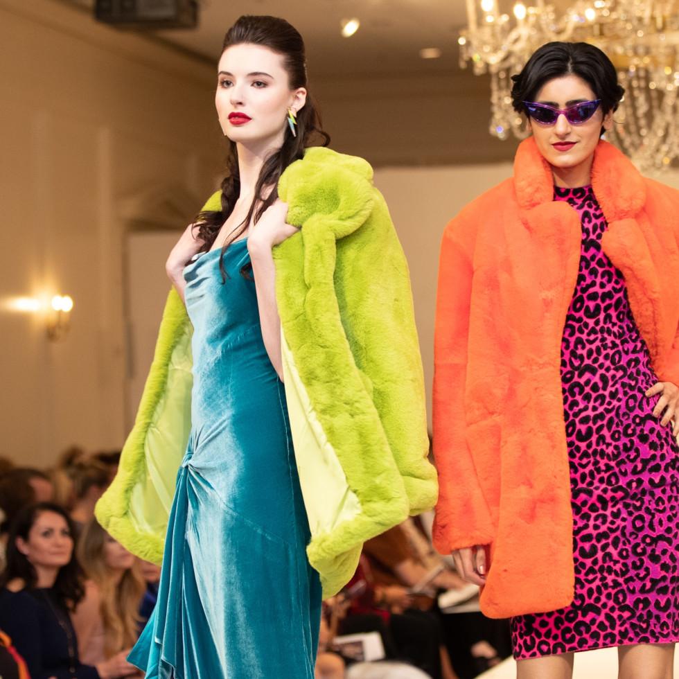 Models Wearing APPARIS Lime Coat, CINQ A Sept Teal Velvet Gown, APPARIS orange Coat, MILLY Pink Leopard Dress