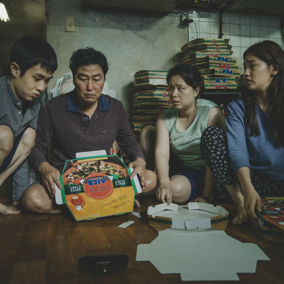 Woo-sik Choi, Kang-ho Song, Hye-jin Jang, and So-dam Park in Parasite