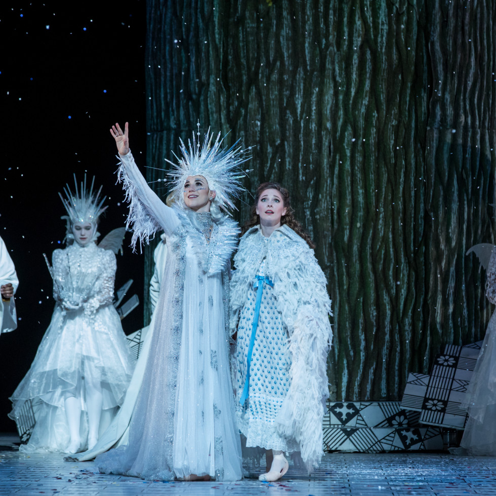 Houston Ballet Principals Melody Mennite as Clara and Jessica Collado as Snow Queen and Soloist Harper Watters as Nutcracker Prince with Students of Houston Ballet Academy in Stanton Welch's The Nutcracker