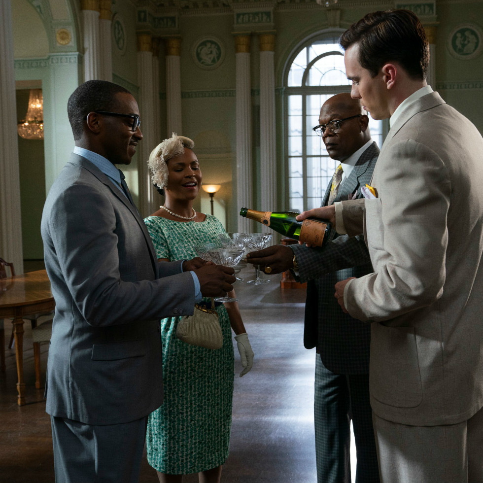 Anthony Mackie, Nia Long, Samuel L. Jackson, and Nicholas Hoult in The Banker