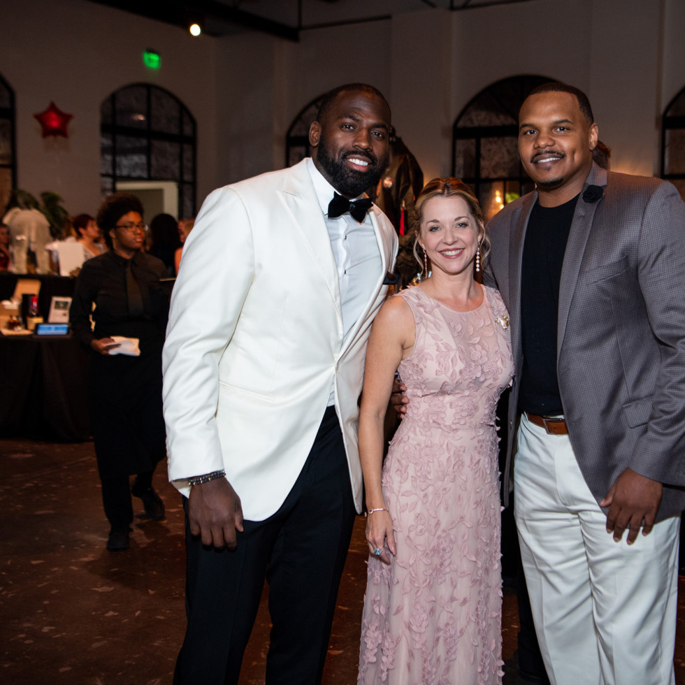 Jungle Book Gala 2019 Whitney Mercilus, Julie Finck, and Chester Pitts