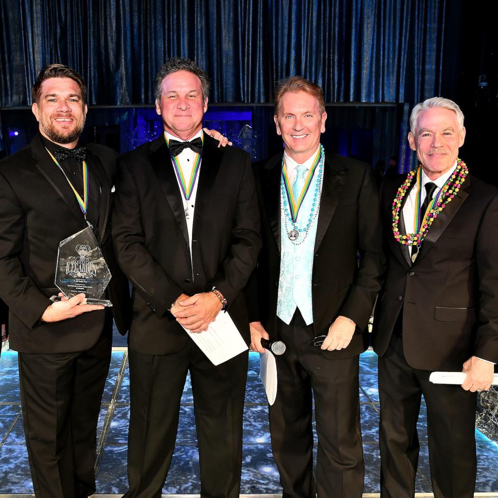San Luis Salute 2020 UTMB's Dr. Ben Raimer and event honoree Dr. Jeff Temple, Bob Slovak, Frank Billingsley and Tom Koch