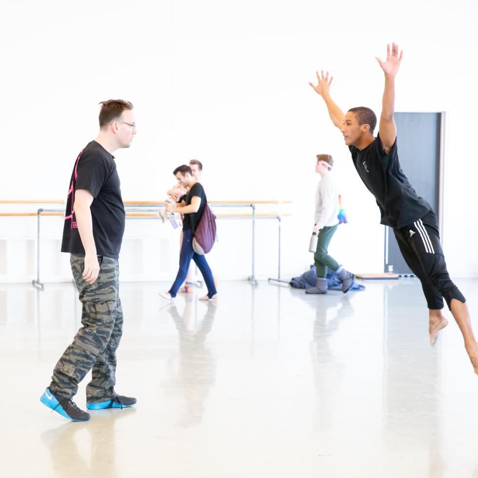 Choreographer Trey McIntyre with Houston Ballet soloist Harper Watters rehearsing Pretty Things.