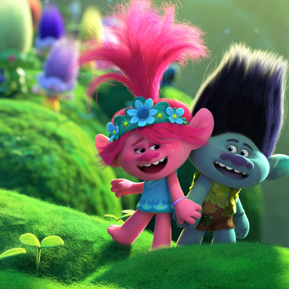 Poppy (Anna Kendrick) and Branch (Justin Timberlake) in Trolls World Tour