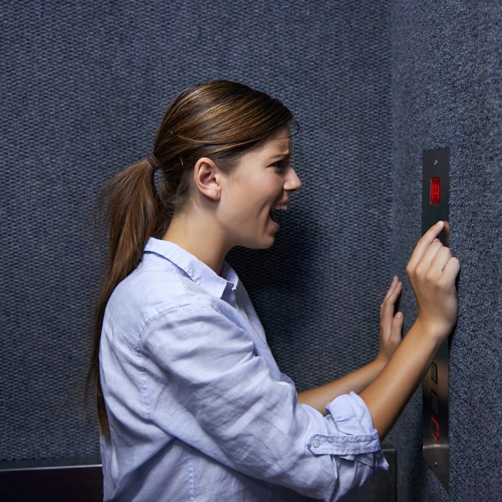 woman in elevator yelling
