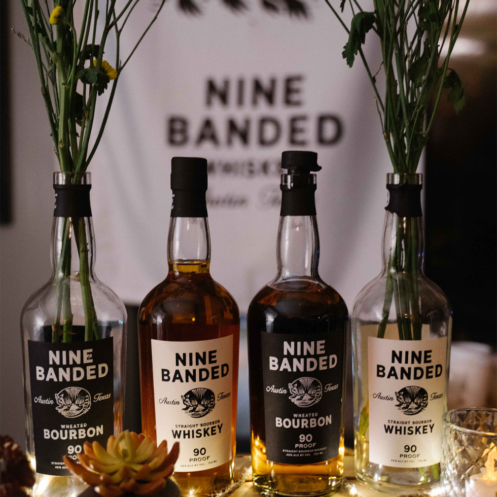 Nine Banded Whiskey and bourbon bottles