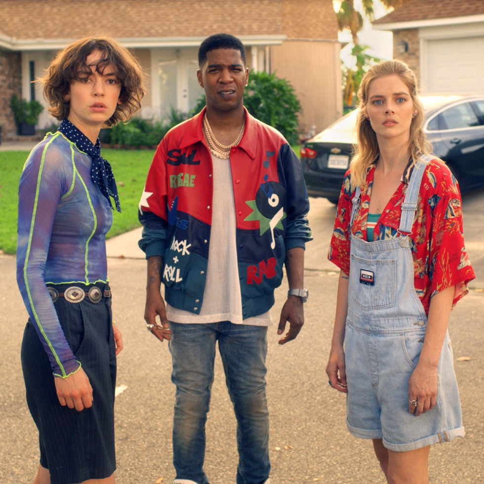 Brigette Lundy-Paine, Kid Cudi, and Samara Weaving in Bill & Ted Face the Music