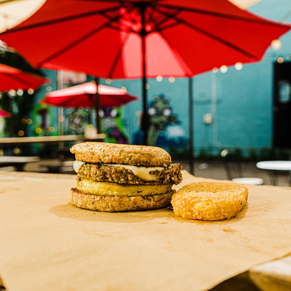 Nom Burger breakfast sandwitch Breakfast Muffin Sammy