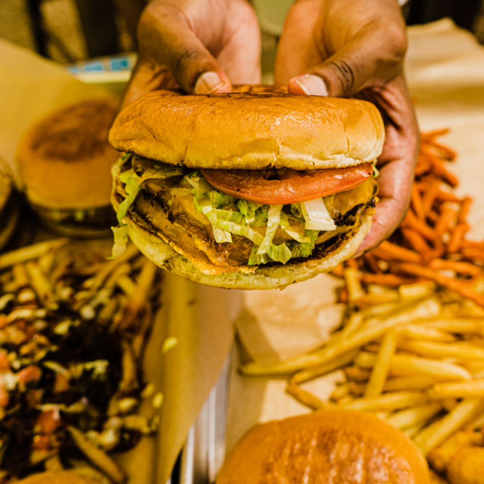 Nom Burger cheeseburger