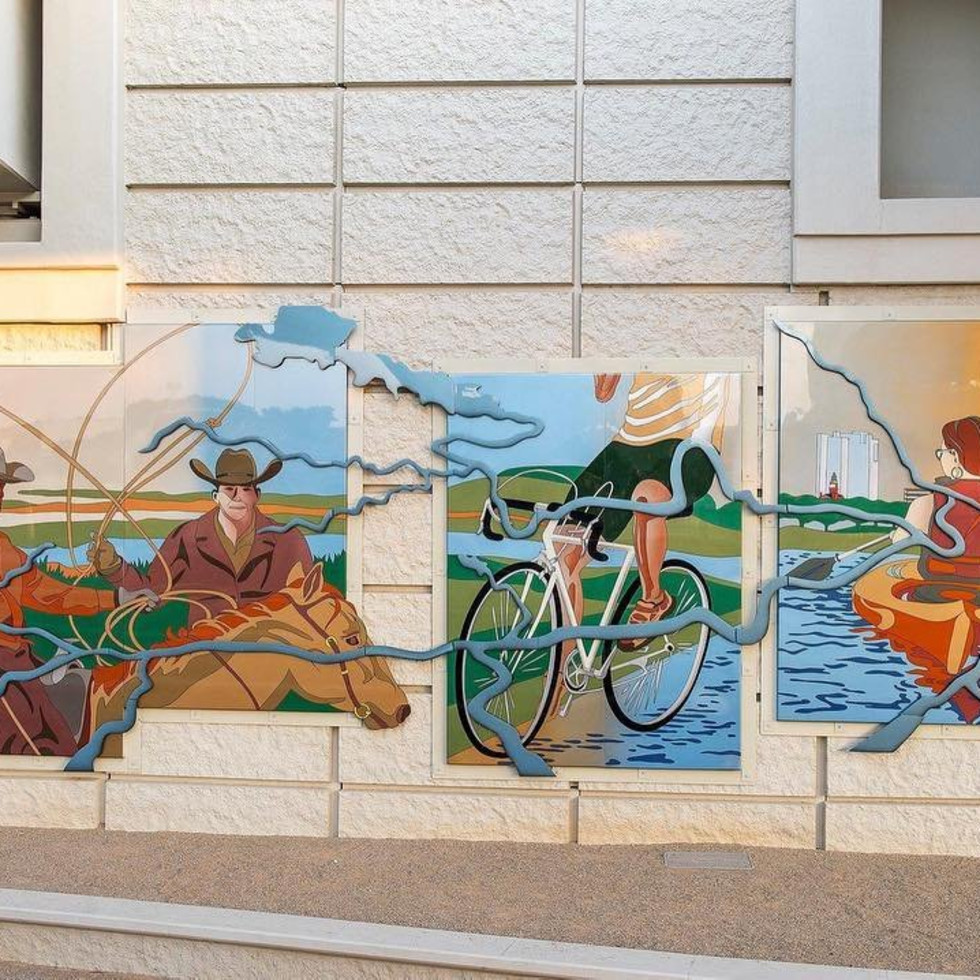 "Devin Nowlin's ""Trailing the Trinity"" mural in Fort Worth"