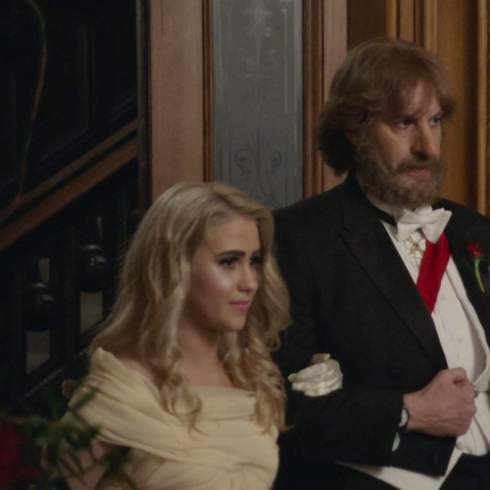 Maria Bakalova and Sacha Baron Cohen in Borat Subsequent Moviefilm