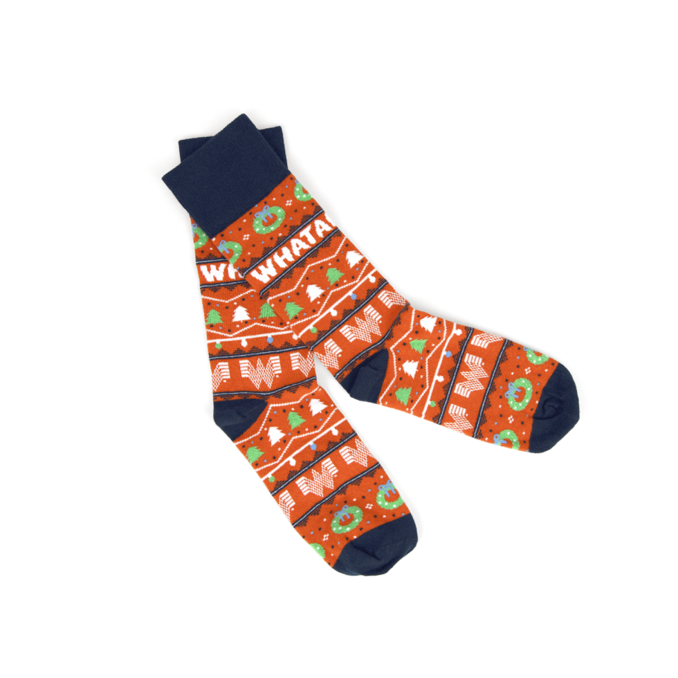 Whataburger apparel holiday 2020 sweater socks hat