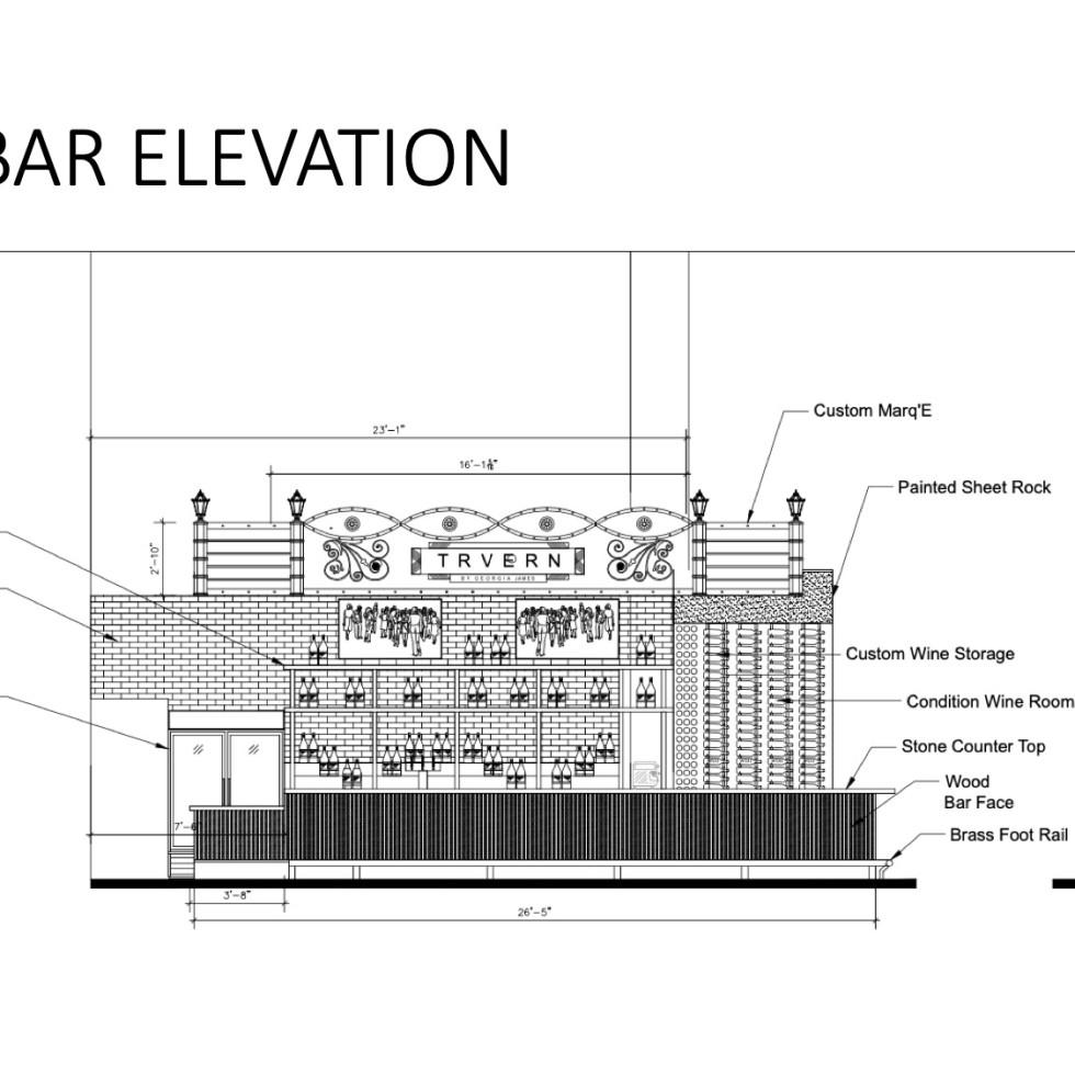 Georgia James Tavern bar elevation
