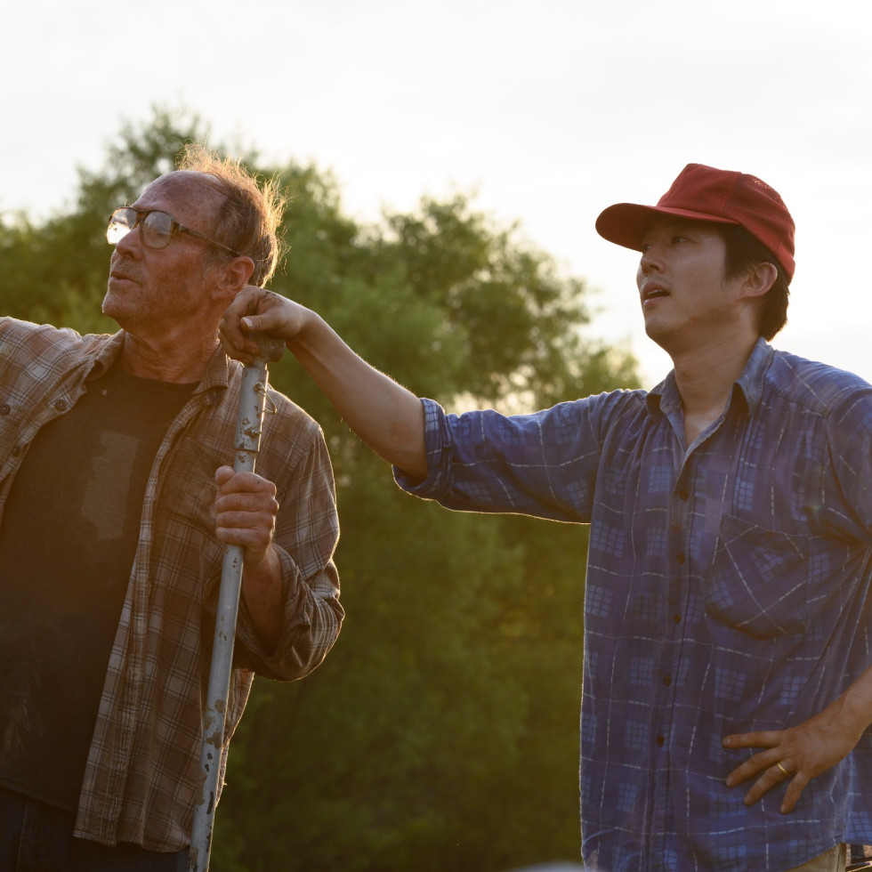 Will Patton and Steven Yeun in Minari