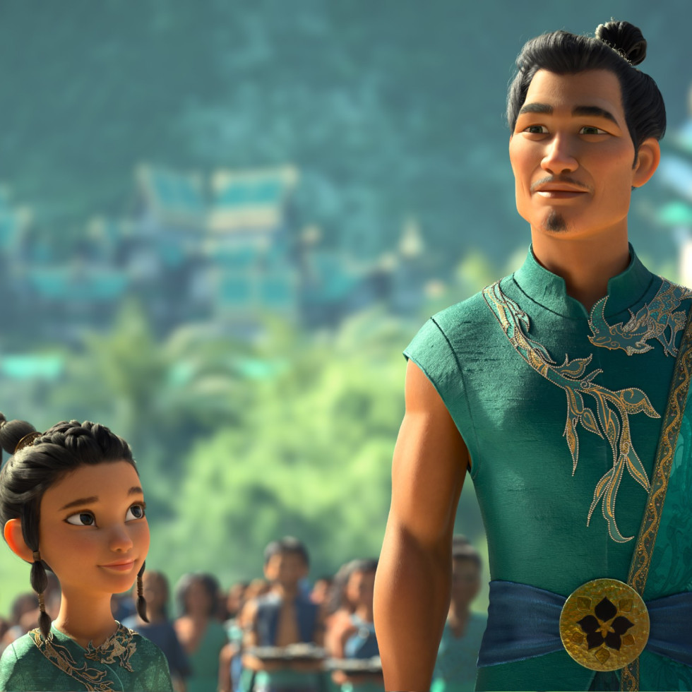 Raya (Kelly Marie Tran) and Benja (Daniel Dae Kim) in Raya and the Last Dragon