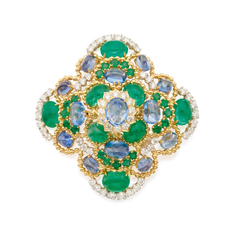 Sapphire, Emerald and Diamond Clip-Brooch, David Webb, Anne Marion